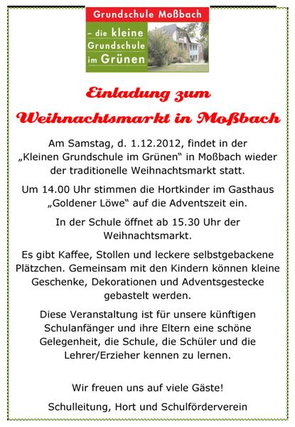 einladung zum weihnachtsmarkt in moßbach | grundschule moßbach, Einladungen
